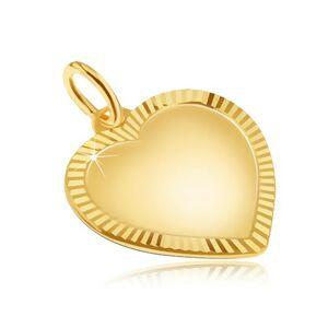 Zlatý prívesok 585 - veľké pravidelné matné srdce, ligotavá ryhovaná obruba