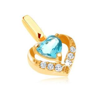 Zlatý prívesok 585 - zirkónový obrys srdca, modrý srdiečkový topás