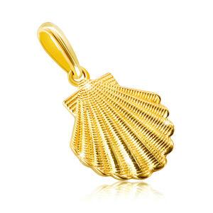 Zlatý prívesok z 9K zlata - morská mušľa so zárezmi