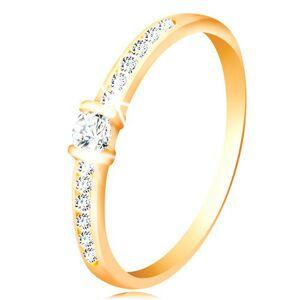 Zlatý prsteň 14K - číre trblietavé ramená, vyvýšený okrúhly zirkón čírej farby - Veľkosť: 64 mm