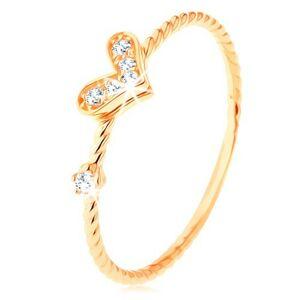 Zlatý prsteň 375, špirálovito zatočené ramená, trblietavé srdiečko, zirkón - Veľkosť: 49 mm