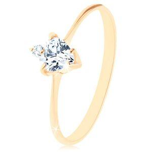 Zlatý prsteň 585 - brúsené zirkónové srdiečko čírej farby, drobný okrúhly zirkónik - Veľkosť: 55 mm