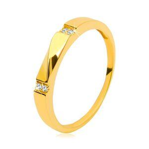 Zlatý prsteň 585 - číre zirkóny, lesklá vlnka, hladké ramená, 3 mm - Veľkosť: 58 mm