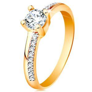 Zlatý prsteň 585 s trblietavými líniami a čírym zirkónom v kotlíku - Veľkosť: 56 mm