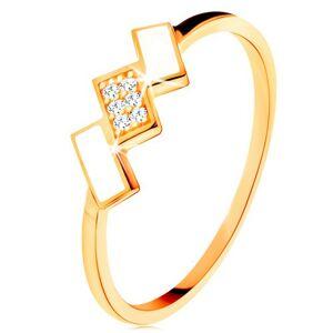 Zlatý prsteň 585 - šikmé obdĺžniky pokryté bielou glazúrou a zirkónmi - Veľkosť: 57 mm