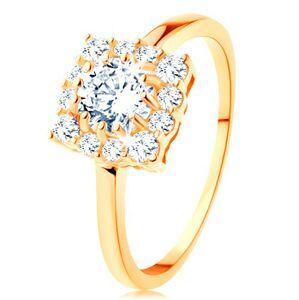 Zlatý prsteň 585 - štvorcový zirkónový obrys, okrúhly číry zirkón v strede - Veľkosť: 58 mm
