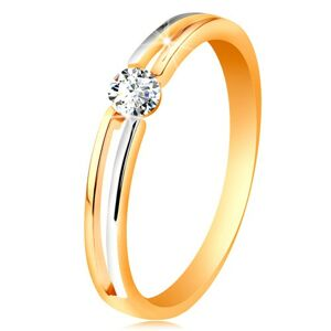Zlatý prsteň 585, tenké dvojfarebné ramená s výrezom a čírym zirkónom - Veľkosť: 58 mm