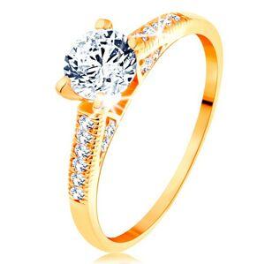 Zlatý prsteň 585 - trblietavé ramená, vyvýšený okrúhly zirkón čírej farby - Veľkosť: 60 mm