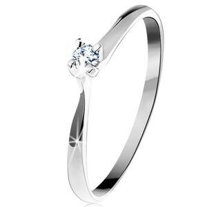 Zlatý prsteň 585 - trblietavý číry zirkón v štvorcípom kotlíku, biele zlato - Veľkosť: 52 mm