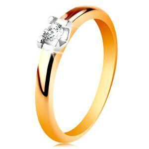 Zlatý prsteň 585 - zaoblené ramená, okrúhly číry zirkón v kotlíku z bieleho zlata - Veľkosť: 56 mm