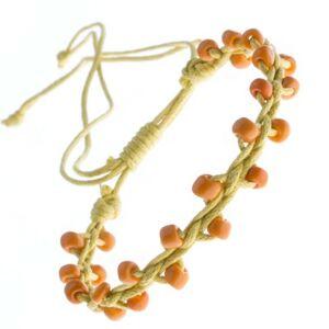 Žltý náramok priateľstva - lesklé oranžové korálky